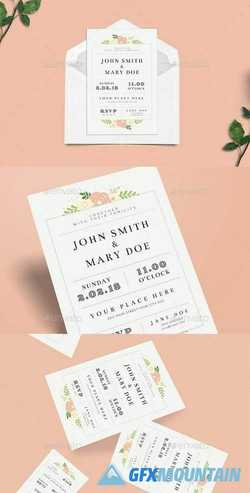 Simple Floral Wedding Invitation 21112541