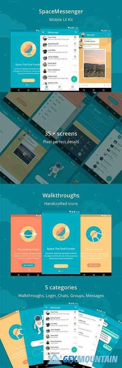 SpaceMessenger Mobile UI Kit  928725