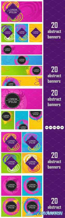 20 abstract bright neon banners   2175105