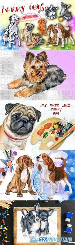 Funny dogs Watercolor 2162885