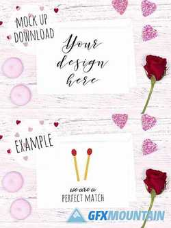 Pretty Valentines Card Mockup 2176668