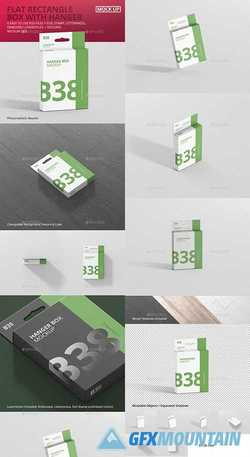 BOX MOCKUP - FLAT MEDIUM RECTANGLE WITH HANGER - 21331721