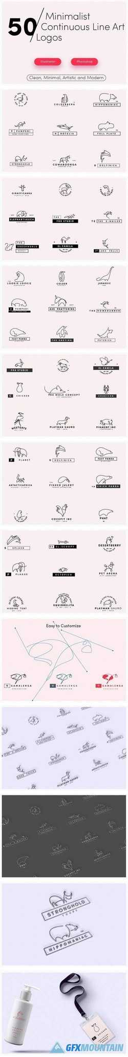 50 Premade Line Art Logo Bundle Pack 1800203