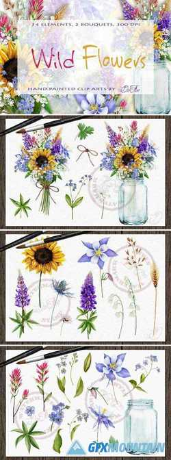 WILD FLOWERS WATERCOLOR CLIP ART 2203176