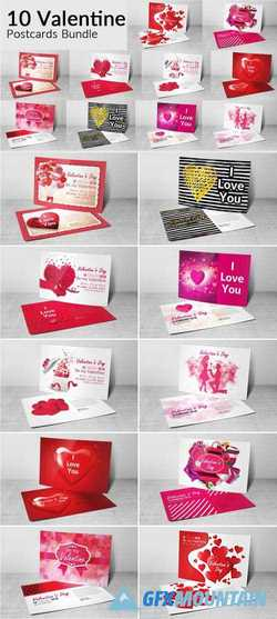 10 VALENTINES DAY POSTCARD BUNDLE - 2183054