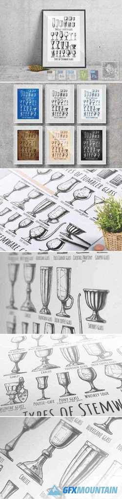 Types of tumbler and stemware glass 2225158