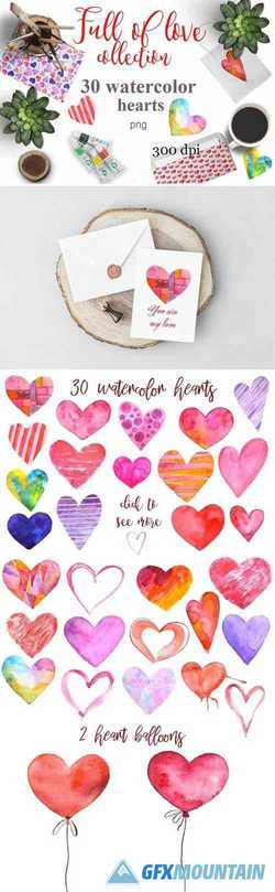 WATERCOLOR HEARTS. VALENTINE'S SET 2104701