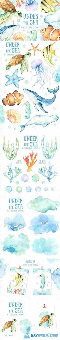Under the Sea Watercolor Cliparts 2228491