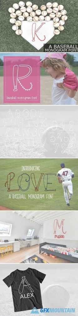 HAND DRAWN BASEBALL MONOGRAM FONT 2256201