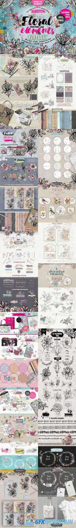 "VECTOR LAB ""FLORAL ELEMENTS & VINTAGE FLOWERS"" - 875235"
