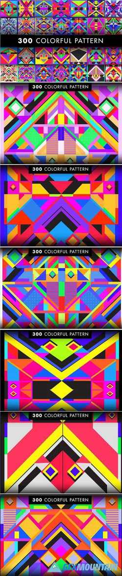 300 COLORFUL RETRO GEOMETRIC PATTERN - 2029338