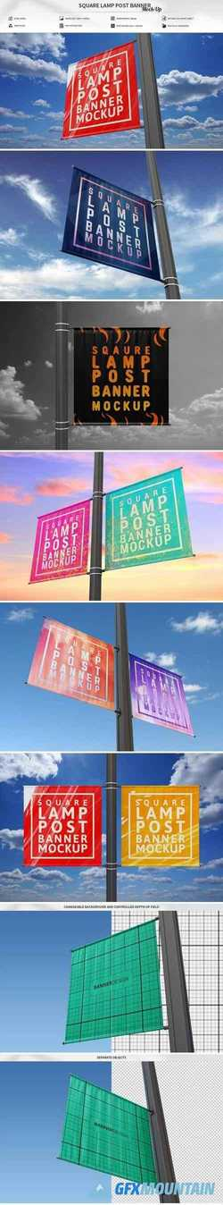 SQUARE LAMP POST BANNER MOCK-UP 2358620