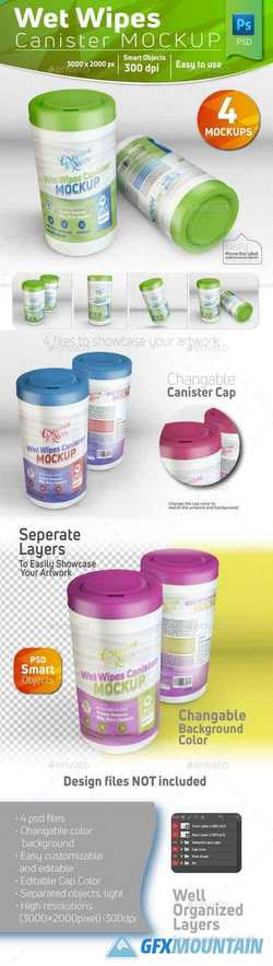 Wet Wipes Canister Mockup 21650442