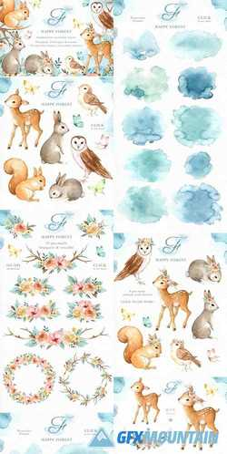 HAPPY FOREST WATERCOLOR CLIP ART 2356893