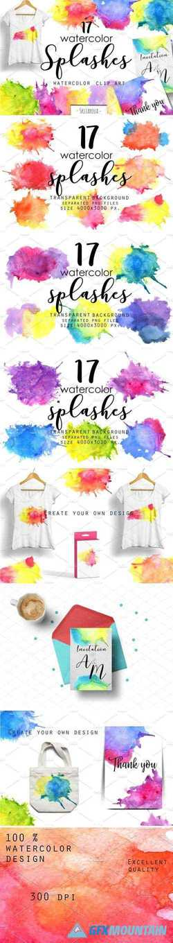 WATERCOLOR SPLASHES. CLIP ART. - 2160297