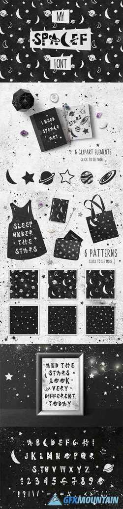 Spacef Font + Bonus Font & Patterns 2380014