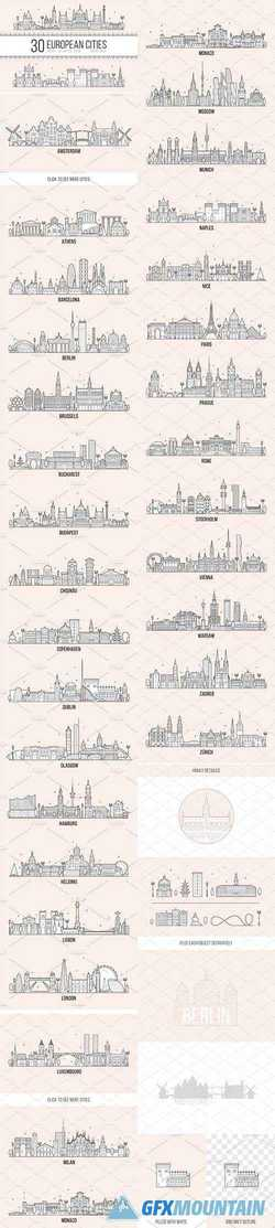 COLLECTION OF 30 EUROPEAN CITIES - 2349652