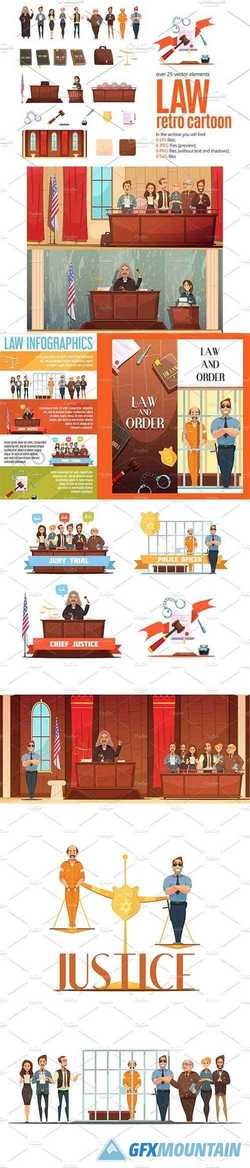 Law Retro Cartoon Set 2430841