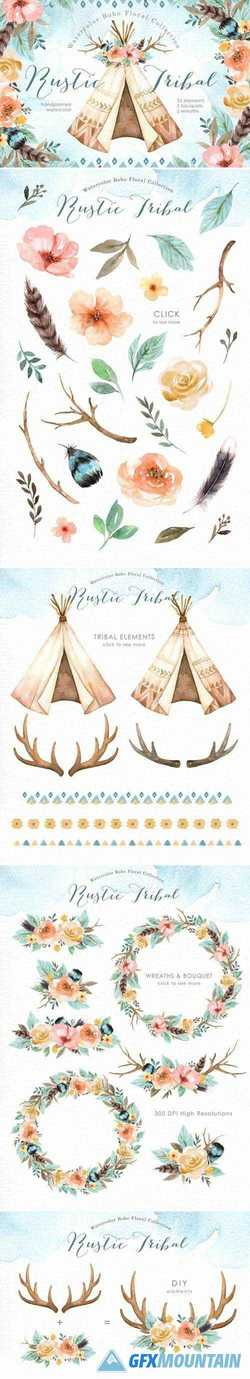 Rustic Tribal Watercolor Clip Art 2428340