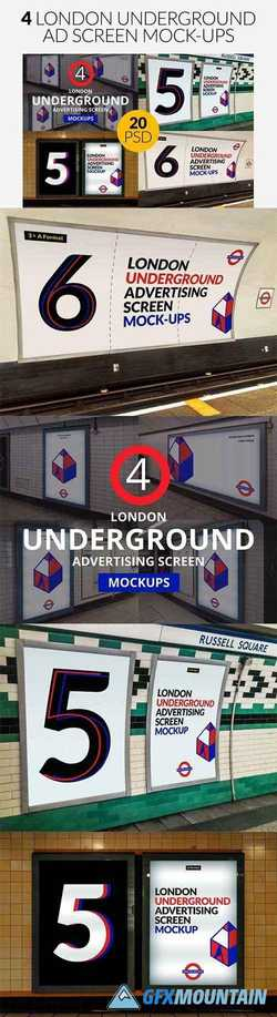 4 London Underground Mock-Ups Bundle 2532376