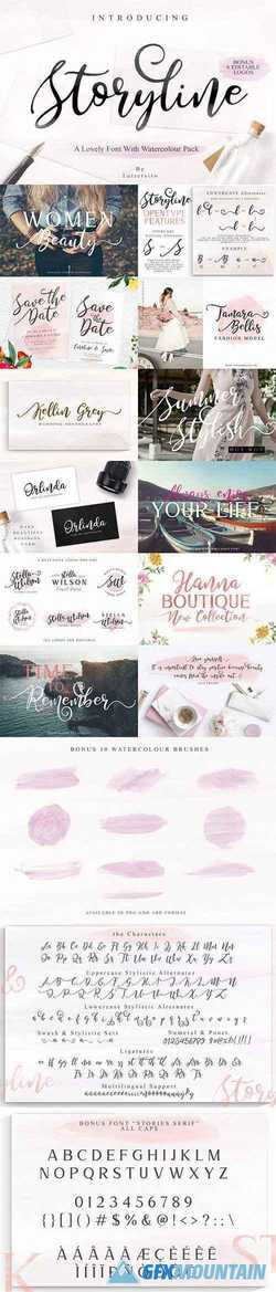 Storyline Font & Watercolour Pack 2579314