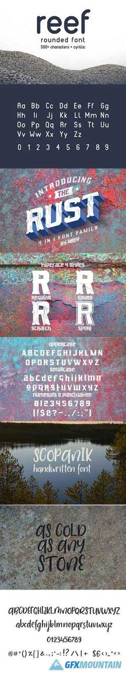 Rust, Scopanik, REEF Fonts