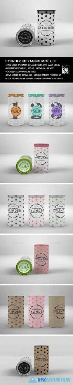 Clear or Opaque Cylinder Packaging Mockup 22146196