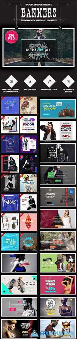 Fashion Facebook Ad Banners - 136 PSD [02 Size Each] 16046080