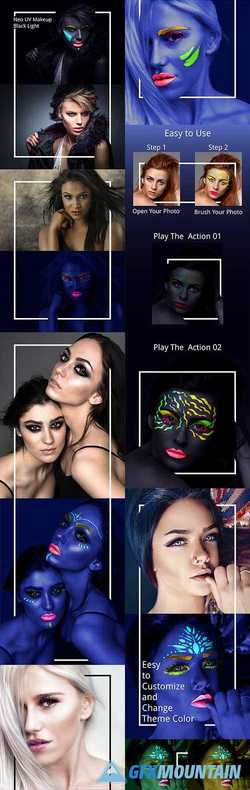 Neo UV Makeup Black Light Photoshop Action 22261749