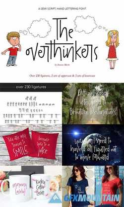 The overthinkers hand lettering font 2565802