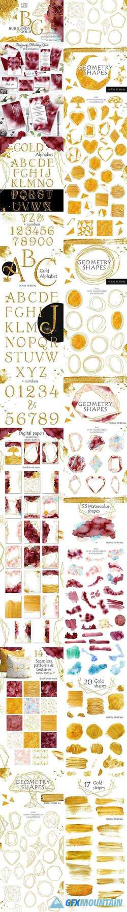 Burgundy & Gold Graphic Set 2809045