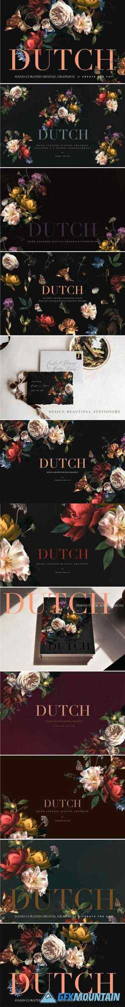 VINTAGE FLORAL CLIP ART - DUTCH - 2764886