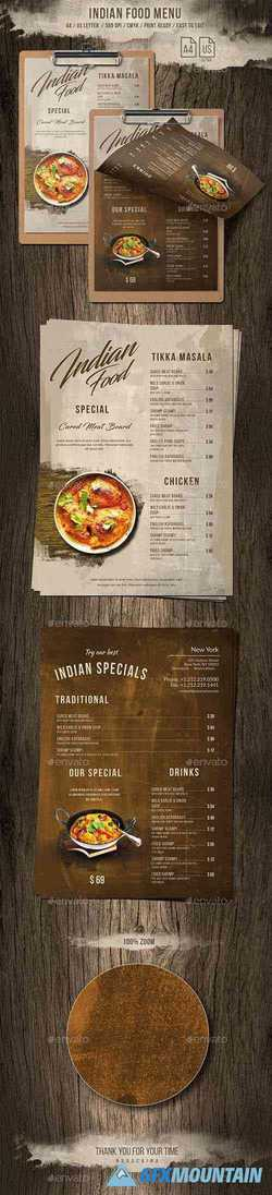 Indian A4 & US Letter Single Page Food Menu 20691932