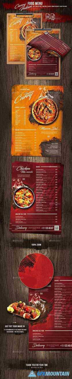 Curry Indian Single Page Food Menu US Letter & A4