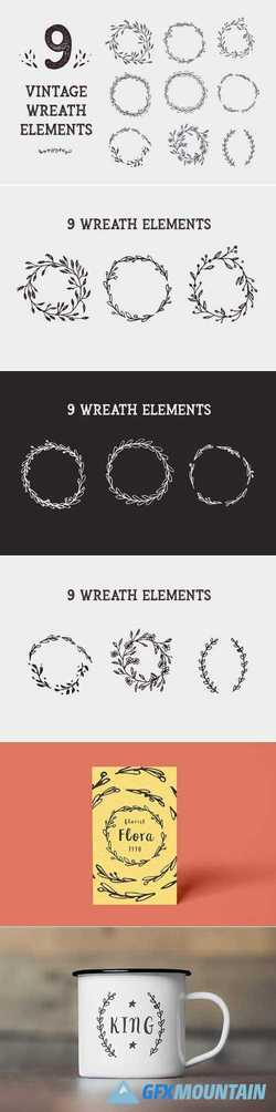 9 Vintage Wreath Graphic Design Elem 2910107