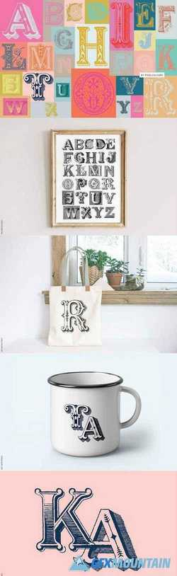 Antique Ornaments Alphabet Font 2929417