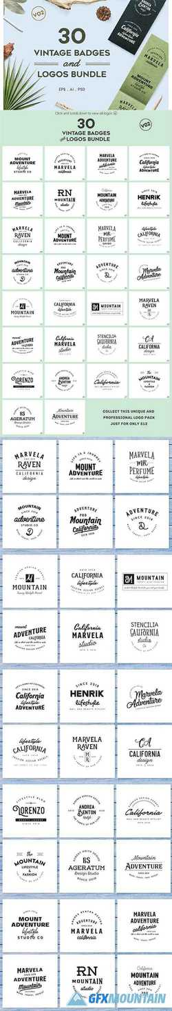Vintage Badges and Logos Bundle V02 2951722