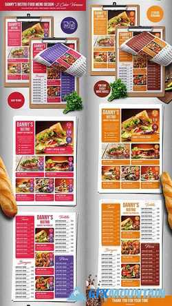 Dannys Bistro Food Menu Design A4 & US Letter 21907109