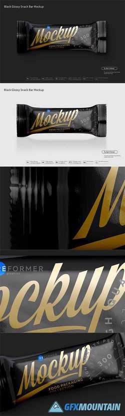 Black Glossy Snack Bar Mockup 3023756