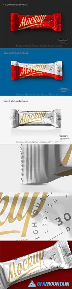 Glossy Metallic Snack Bar Mockup 3028098