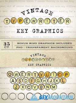 Vintage Typewriter Key Graphics