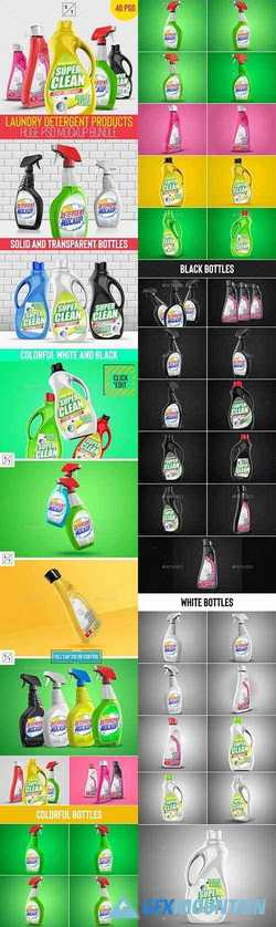 Laundry Detergent Products Huge PSD Mockup Set 22658511