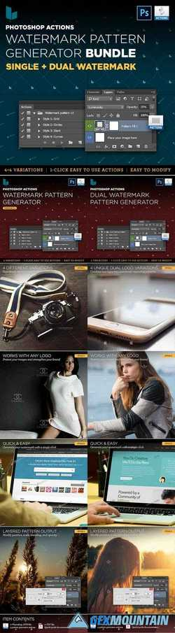 Photoshop Action Watermark Patern Generator Bundle 22760918