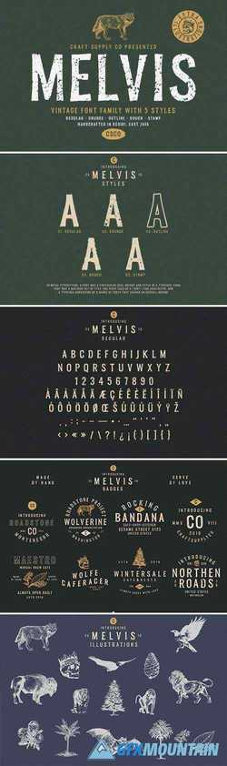 Melvis - Vintage Font Family+Extras 3152404