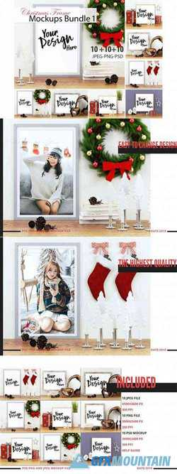 10 Christmas Frame Mockup Bundle Volume 01 3512561