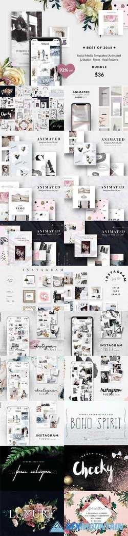 BUNDLE Social Media Templates (Animated & Static)-Fonts -Real flowers 3516025