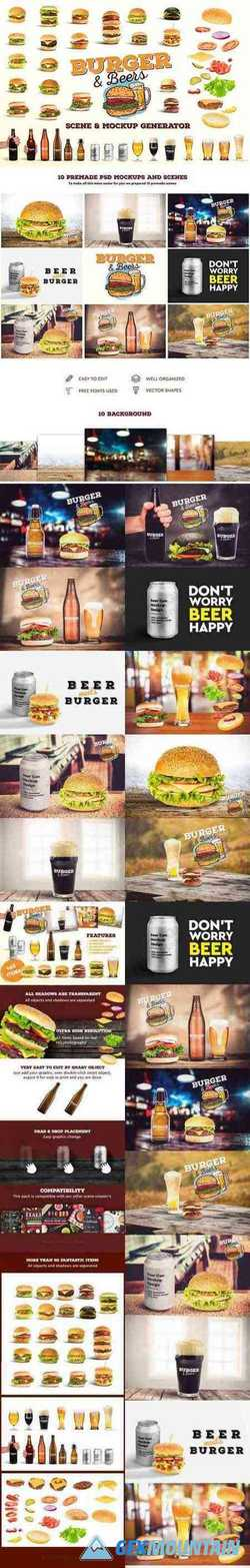 BURGER&BEER MOCK-UP SCENE CREATOR - 3231078