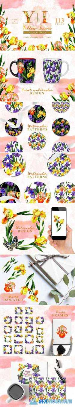 YELLOW IRISES WATERCOLOR PNG - 3319894