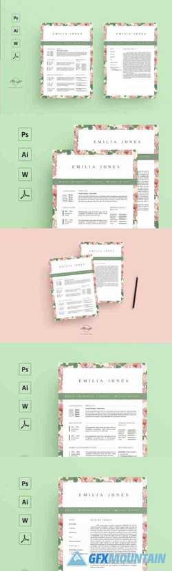 Floral Resume Template / Coverletter Template 2543339