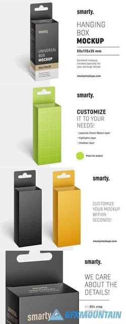 Hanging box mockup 50x115x35 mm 3394989